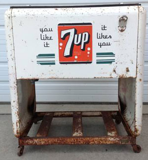 antique 7up cooler