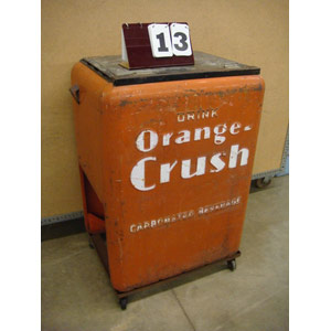 antique orange crush cooler